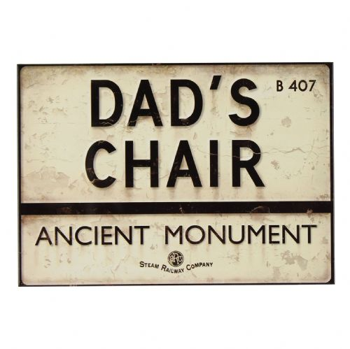 Harvey Makin Steam Railway Company Plaque ' Dad's Chair Ancient Monument' Funny sign gift for Dad